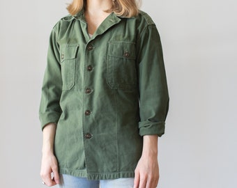 Vintage Olive Green Shirt Army Jacket | Sage Cotton Button Up | Epaulette | S M |