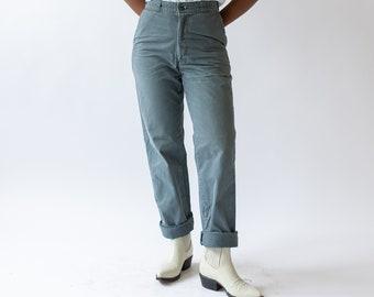 Vintage 27 28 Waist Teal Chinos | Cotton Twill Straight Leg Utility Pant Trouser |