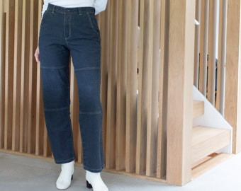 Vintage 30 31 35 36 Waist Linen Cotton Utility Jeans | Made in Spain Pants | Straight Leg High Waist Jean |