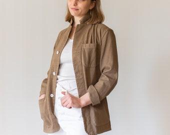 Vintage Mushroom Brown Overdye Chore Jacket | Round Pocket Cotton French Workwear Style Utility Work Coat Blazer | S