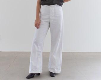 Vintage 30 Waist White Sailor Pant | High Rise Button Fly Cotton Trousers | Navy Pants | WS006