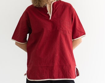 Vintage Red White Athletic Popover Blouse   Piped   El Dorado Tapered Traditionals   S M