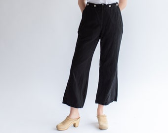 Vintage Black Herringbone Twill Sailor Pants | Six Button Front Nautical Trousers | 32 34 36 Waist | Broadfall |