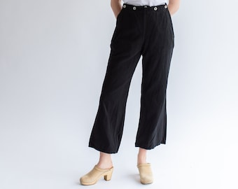 Vintage Black Herringbone Twill Sailor Pants | Six Button Front Nautical Trousers | 28 29 30 31 32 34 36 Waist | Broadfall |