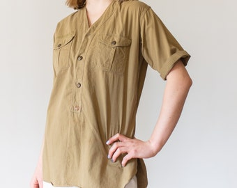 Vintage Tan Khaki Scout Shirt | Cotton Button Up Shirt |