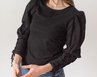 Vintage Black Puff Sleeve Shirt | Linen Lace Up Princess | Romantic Blouse | S | BP098