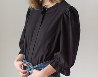 Vintage Black Puff Sleeve Shirt | Bow | Button Romantic Blouse | S M | BP074