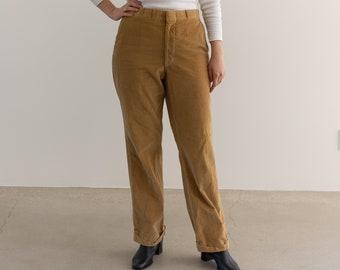 Vintage 32 Waist Mustard Tan Corduroy Trousers | High Rise | Wide Wale Corduroy |