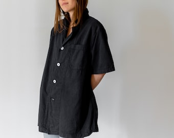 Vintage Black Short Sleeve Work Shirt | Workwear Pocket Top | XS S M |