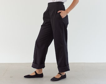 Vintage 24 26 27 31 32 Waist Side Zip Studio Trousers | Dart Pleated Black Cotton Pants |