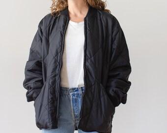 Vintage Black Liner Jacket | Zip Up Quilt Nylon Liner Coat | Deadstock NOS | L XL