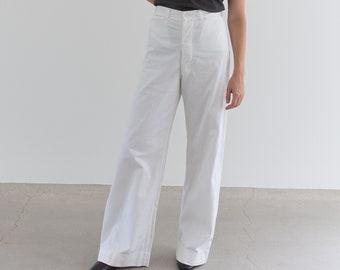 Vintage 29 Waist White Sailor Pant | High Rise Button Fly Cotton Trousers | Navy Pants | WS009