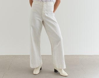 Vintage 26 Waist White Sailor Pant | High Rise Button Fly Cotton Trousers | Navy Pants | WS001