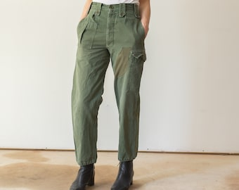 Vintage 27 Waist Olive Green Fatigues | Cargo Trousers | Army Pants | Patched | AP103