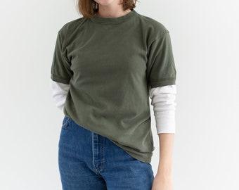 Vintage Sage Green T-Shirt | 80s Worn Tee Shirt | 100% Cotton | S | T110