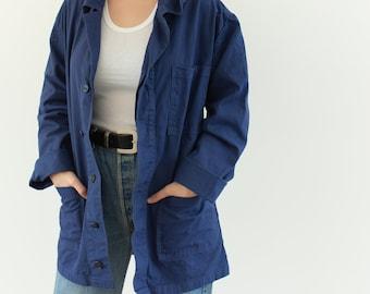 Vintage Navy Blue Chore Coat | Unisex Cotton Military Utility Work Jacket | Bulgaria | M L | IT179