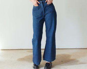 Vintage 26 Waist Flare Jean | 70s Bell Bottom Kick Flare | Nautical Birkin Sailor |