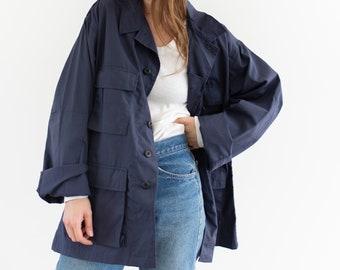 Vintage Navy Blue Cotton Ripstop Lightweight Jacket | Unisex Windbreaker | M L |