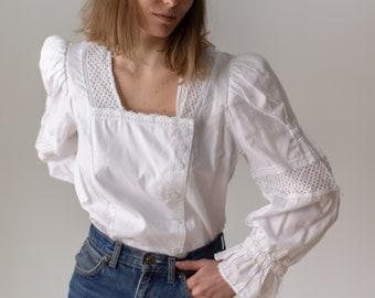 Vintage White Puff Sleeve Shirt | Square neck Folk Blouse Shirt | Romantic Blouse | M | BP124