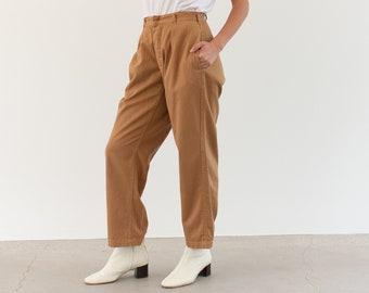 Vintage 27 Waist Almond Pleat Trousers | High Rise Button Fly Cotton Pants |