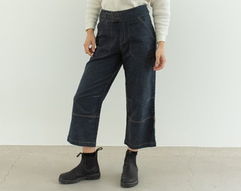 Vintage 28 30 32 Waist Linen Cotton Utility Crop Jeans | Made in Spain Pants | Straight Leg High Waist Jean |