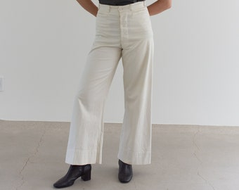 Vintage 28 Waist White Sailor Pant | High Rise Button Fly Cotton Trousers | Navy Pants | WS004