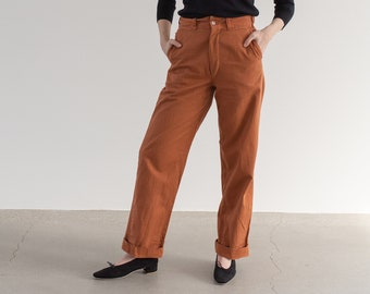 Vintage 28 Waist Carrot Orange Chinos | High Waist Zipper Fly Cotton Pants | Made in USA 60s |