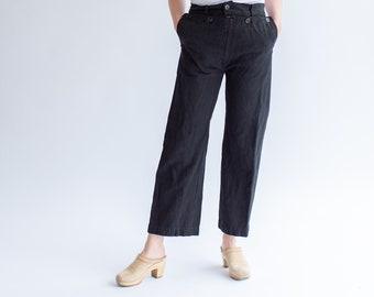 Vintage Overdye Black Denim Broadfall Trousers | 24 25 26 27 28 29 30 31 32 34 Waist | High Rise Sailor Pants |
