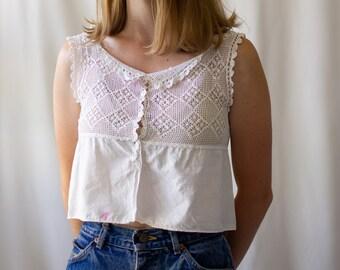 Vintage Victorian White Cotton top | Crochet Antique Corset Cover | Vintage White Camisole Chemise White Cotton top Blouse | Romantic |