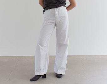 Vintage 28 Waist White Sailor Pant | High Rise Button Fly Cotton Trousers | Navy Pants | WS003
