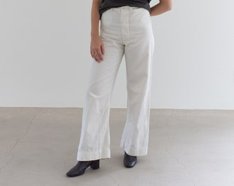 Vintage 27 Waist White Sailor Pant | High Rise Button Fly Cotton Trousers | Navy Pants | WS007