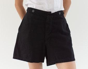 Vintage 27 28 Waist Black Denim Shorts | Metal Buttons | Workwear