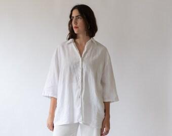 Vintage White Linen Simple Shirt Tunic | Poet Blouse | Artist Smock | L