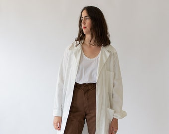 Vintage White Open Painter Shop Coat | Cotton Trench Jacket | Artist Smock Duster Robe |