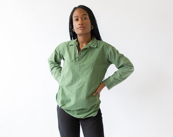 Vintage Sage Green Popover Tunic Shirt | Pullover Henley |
