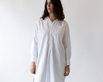 Vintage White Tunic Shirt | Simple Dress | Studio Shirt | Painter Smock | Long Sleeve Button Down