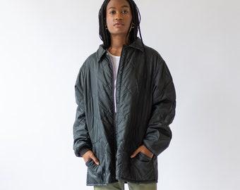 Vintage Black Liner Jacket | Zip Up Quilt Nylon Liner Coat |