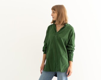 Vintage Sage Green Popover Tunic Shirt   Pullover   Cotton Henley   M L   GP001