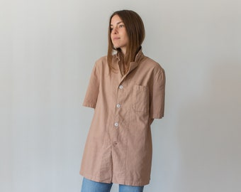The Willet Shirt in Ballet Pink | Vintage Button Up Short Sleeve Work Shirt | S M L XL | Overdye Pink