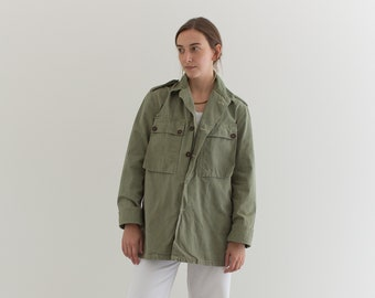 Vintage Olive Green Herringbone Twill Army Jacket | Unisex HBT Green Cotton Button Up Shirt | M | GS008