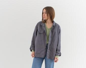 Vintage Slate Grey Single Pocket Coat | Unisex Cotton Fall Utility Jacket | Made in Italy | L | IT199