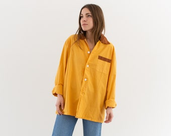 Vintage Yellow Brown 70s Long Sleeve Shirt | Contrast Color | Wrapped Buttons Simple Blouse | Cotton Work Shirt | M