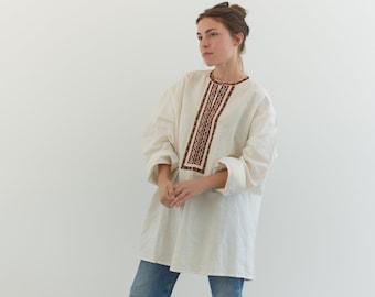 Vintage White Embroidered Folk Blouse | Semi Sheer Cotton Top | Romantic Tunic | L |