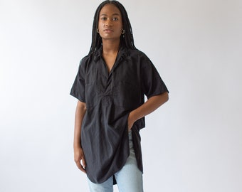 Vintage Overdye Jet Black Short Sleeve Tunic Shirt | Simple Dress | Studio Shirt | Painter Smock |