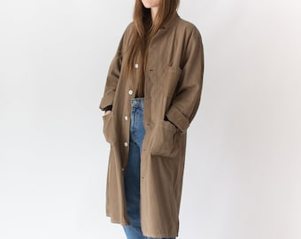IRREGULAR Vintage Mushroom Brown Shop Coat | Overdye Brown Chore Trench Jacket | M |