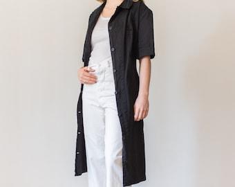Vintage Black Short Sleeve Belted Shop Jacket | Utility Duster Coat | Artist Smock | L |