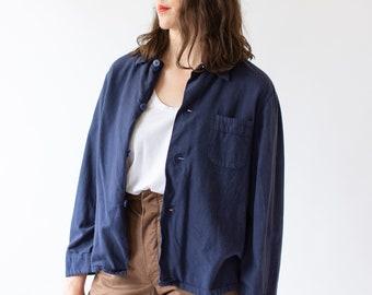 Vintage Overdye Navy Blue Work Shirt Jacket | Pajama Flannel Button Up Over Shirt | S M |