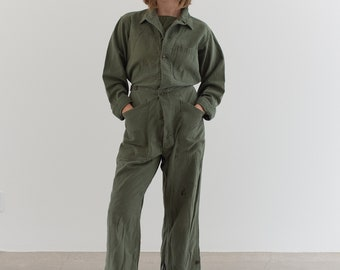 Vintage Olive Green Coverall | Green Army Jumpsuit | Flight Suit Studio Ceramic | Boilersuit | J012