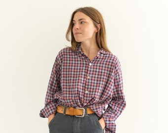Vintage Red White Plaid Button Down Blouse | Worn in | Budapest | S M