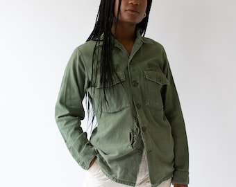 Vintage Olive Green Shirt Army Jacket | Sage Cotton Button Up | Large Rip |